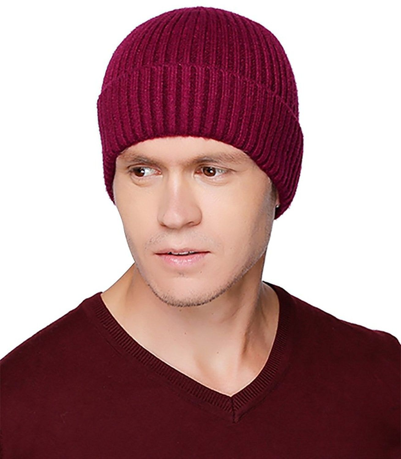 ee5d0adcccb Mens Baggy Winter Knitting Skull Cap Wool Warm Slouchy Beanie Hat ...