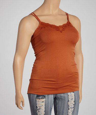 Take a look at this Brick Lace Camisole - Plus by Icon Apparel on #zulily today!