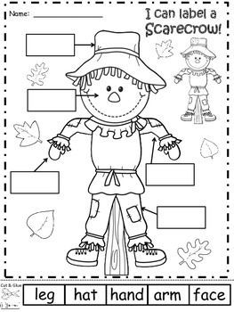 a scarecrow labels scarecrow play date planner fall preschool kindergarten writing. Black Bedroom Furniture Sets. Home Design Ideas