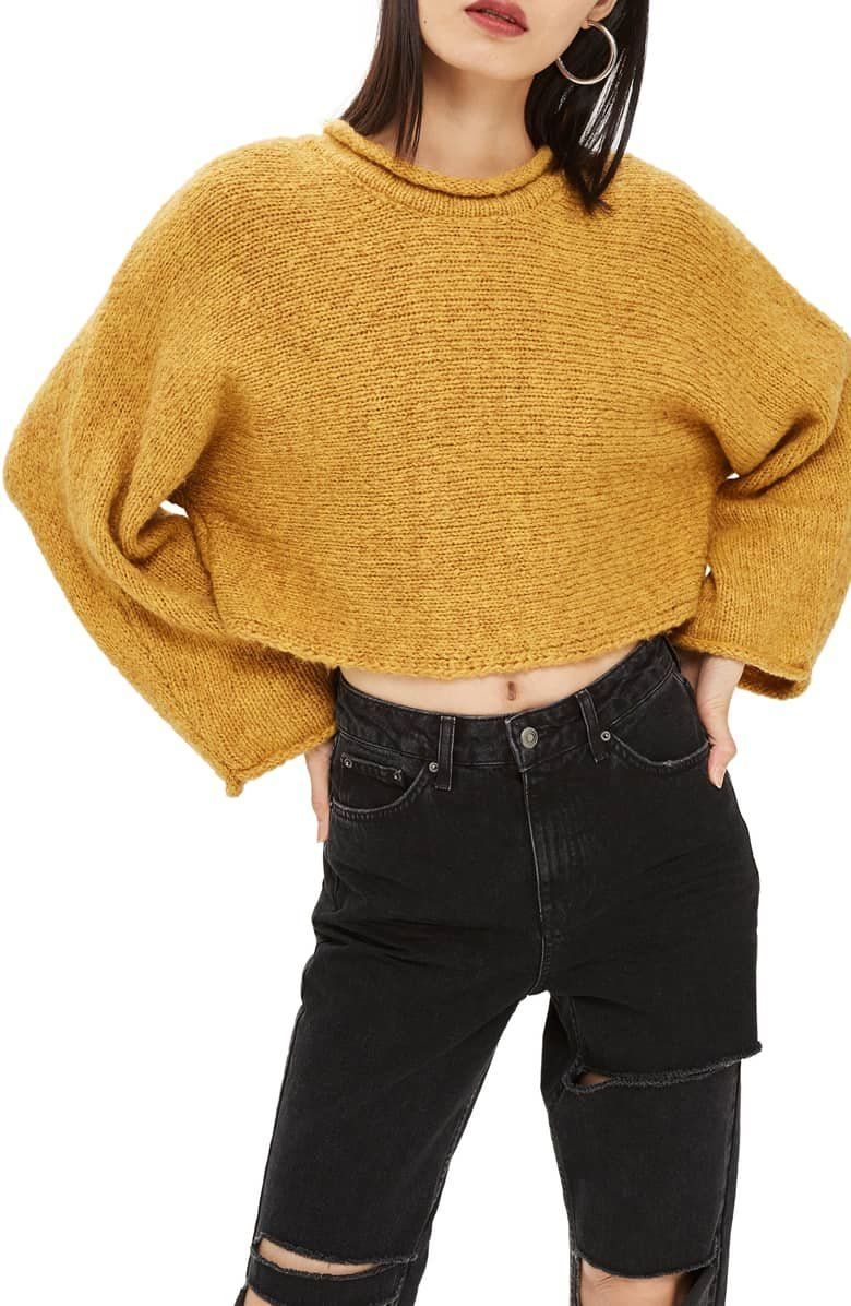 1271f50c2b3872 Expect a few sideways glances of approval in this cropped sweater knit in  horizontal rows, for boxy styling that natually leads to dolman sleeves.