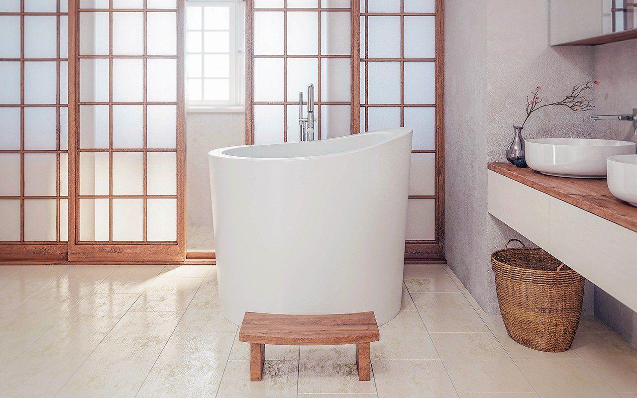 Aquatica True Ofuro Mini Freestanding Stone Japanese Soaking Bathtub ...