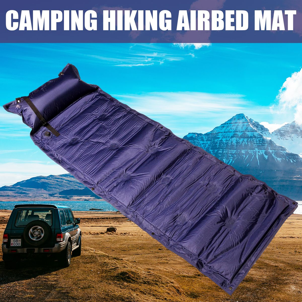 Outdoor Polyester Camping Self Inflating Air Mat Mattress Pad Pillow Waterproof Hiking Sleeping Bed 4 Colors Air Mat Air Mattress Camping Tent Tent Camping