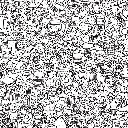 Food Doodle Colouring Art Therapy Doodle Coloring Christian Coloring