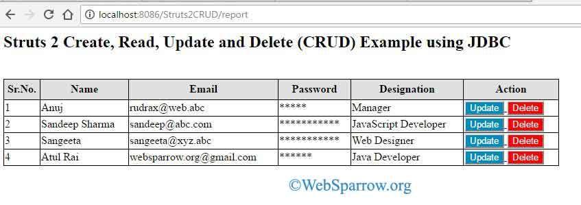 Struts 2 Create, Read, Update and Delete (CRUD) Example