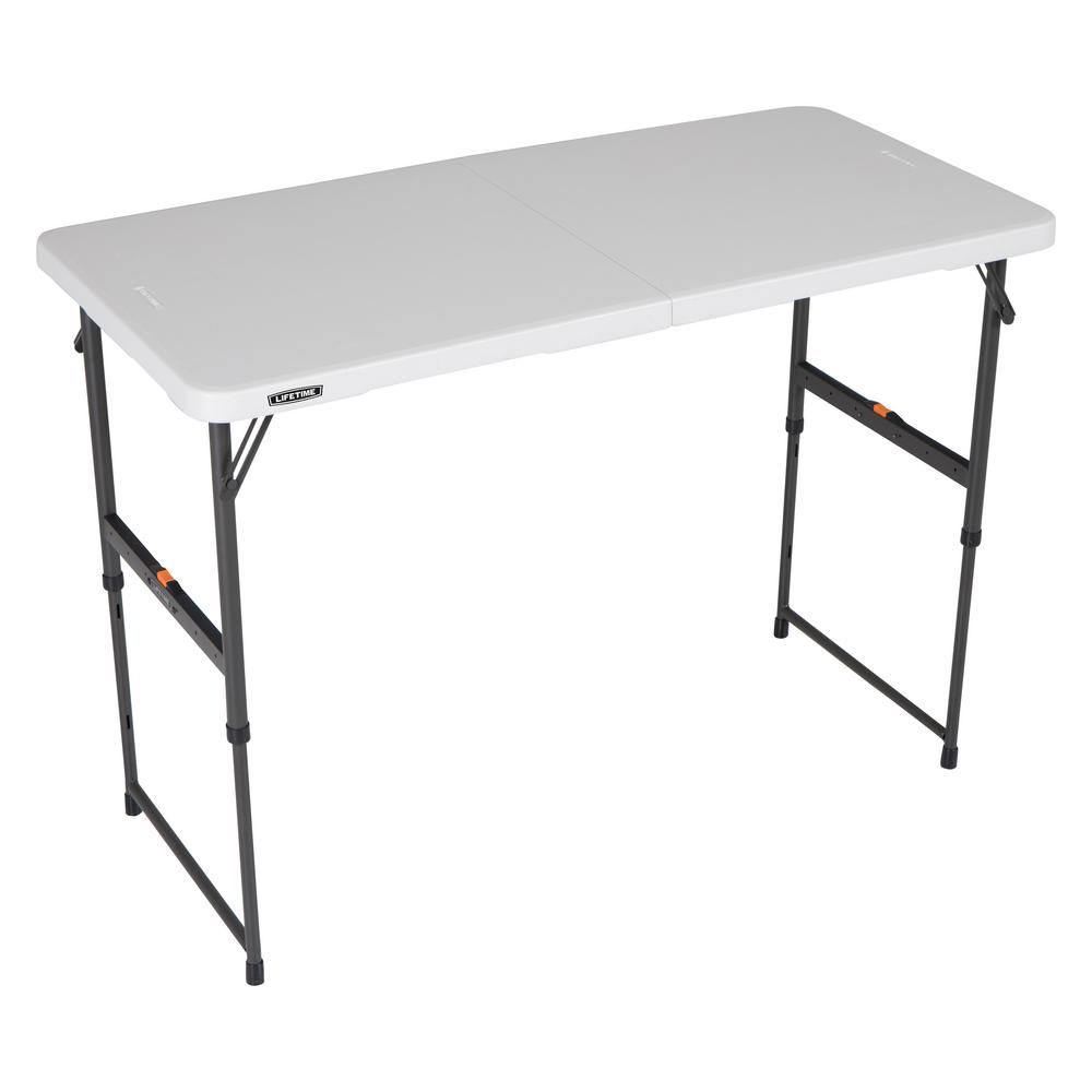 Lifetime Lifetime 4 Ft One Hand Adjustable Height Fold In Half Table Almond 80726 The Home Depot In 2020 Fold In Half Table Half Table Resin Table