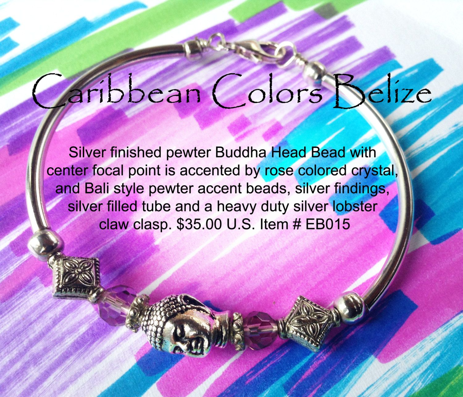 Buddha Bead & Rose Crystal Bracelet with Silver Filled tube and ...