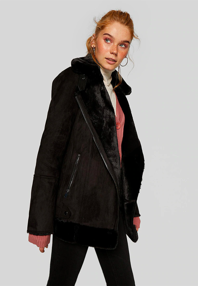Black Dhiver Veste Zalandofr Veste D Hiver Black Zalando Fr Stradivarius Veste D Hiver Black Black Winter Coat Leather Jacket Winter Coat