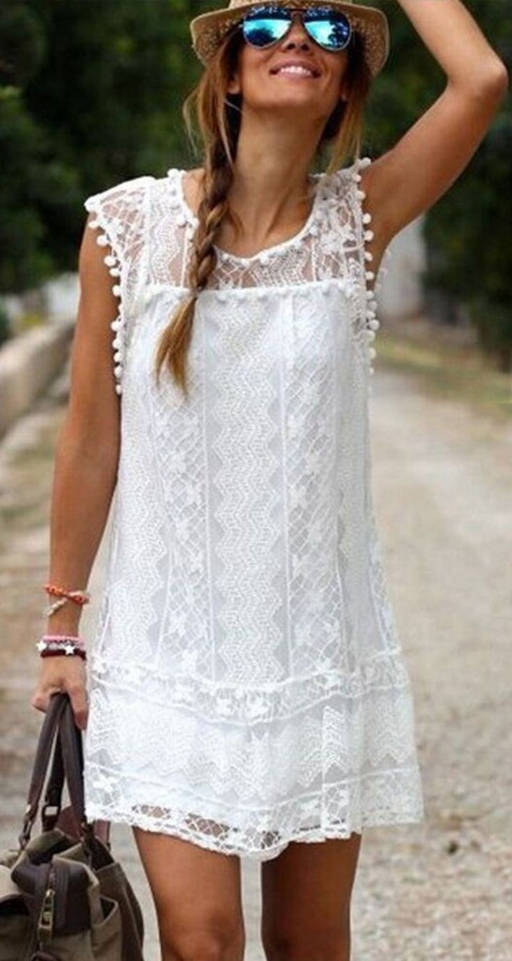 Boho Solid Hollow Out Round Neckline Shift Dress Floryday Short Beach Dresses Lace White Dress Lace Shift Dress [ 1379 x 735 Pixel ]