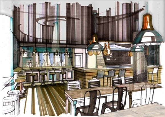 burger bar and patisserie image 1 croquis int rieur pinterest croquis d 39 int rieur. Black Bedroom Furniture Sets. Home Design Ideas