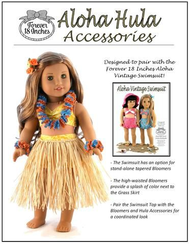Forever 18 Inches Aloha Hula Accessories Doll Clothes Pattern 18 inch American Girl Dolls | Pixie Faire #dollaccessories