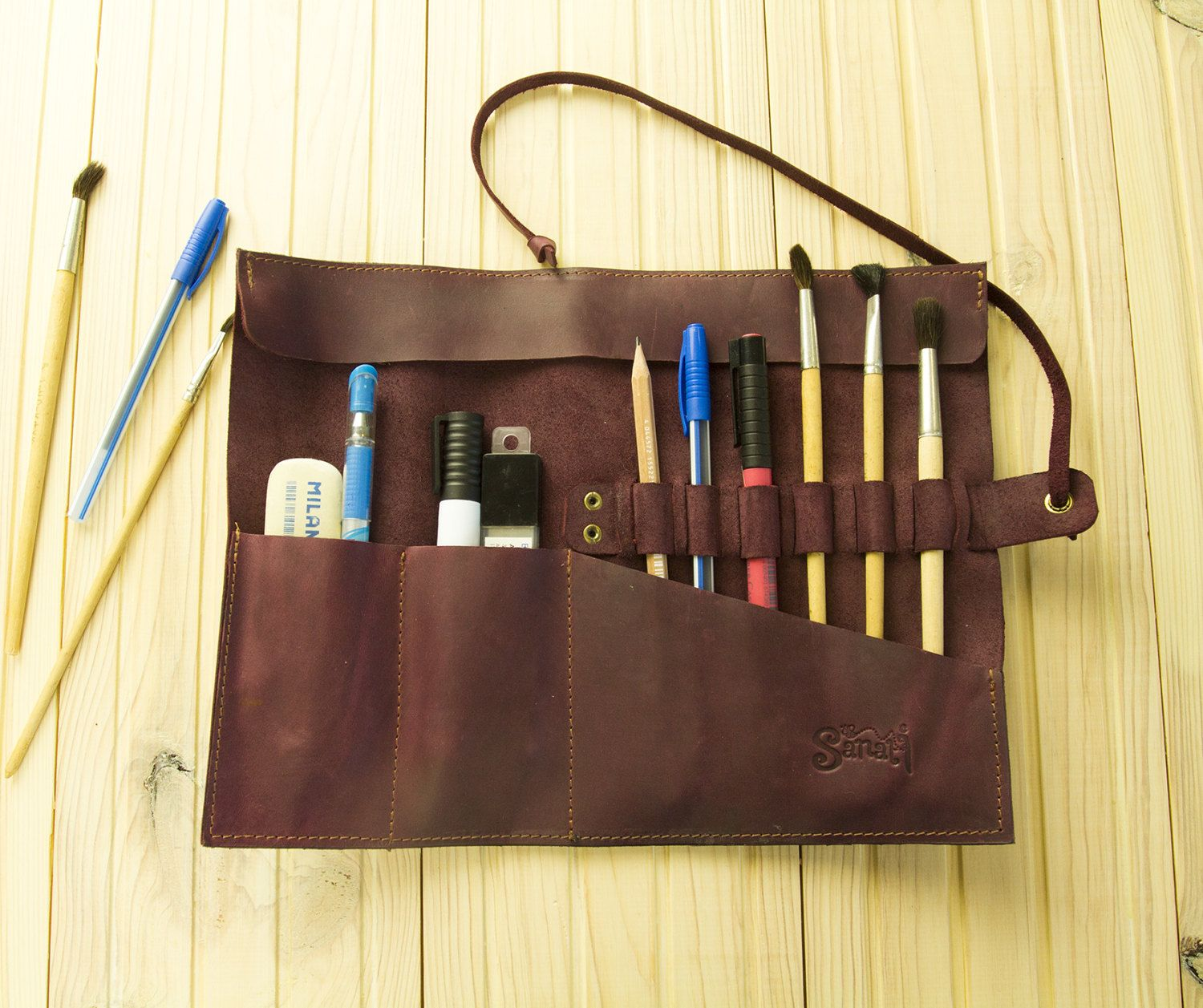 Leather Pencil Case Brush Roll Leather Brush Holder