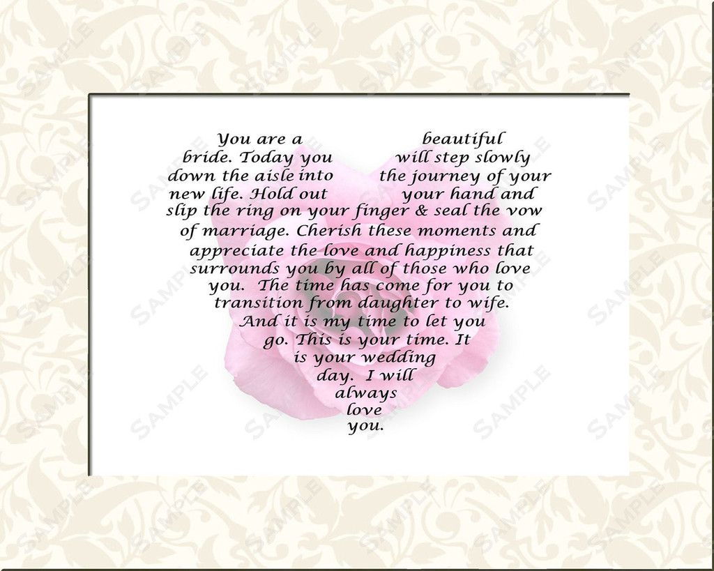 Personalized Bridal Gift For Wedding Day Poem From Mom Or Dad To Daughter 8 X 10 Inch Print Ideas