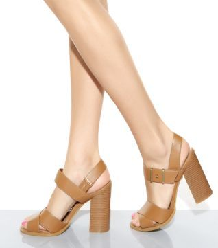 Brown Cut Out Ankle Cross Strap Block Heels