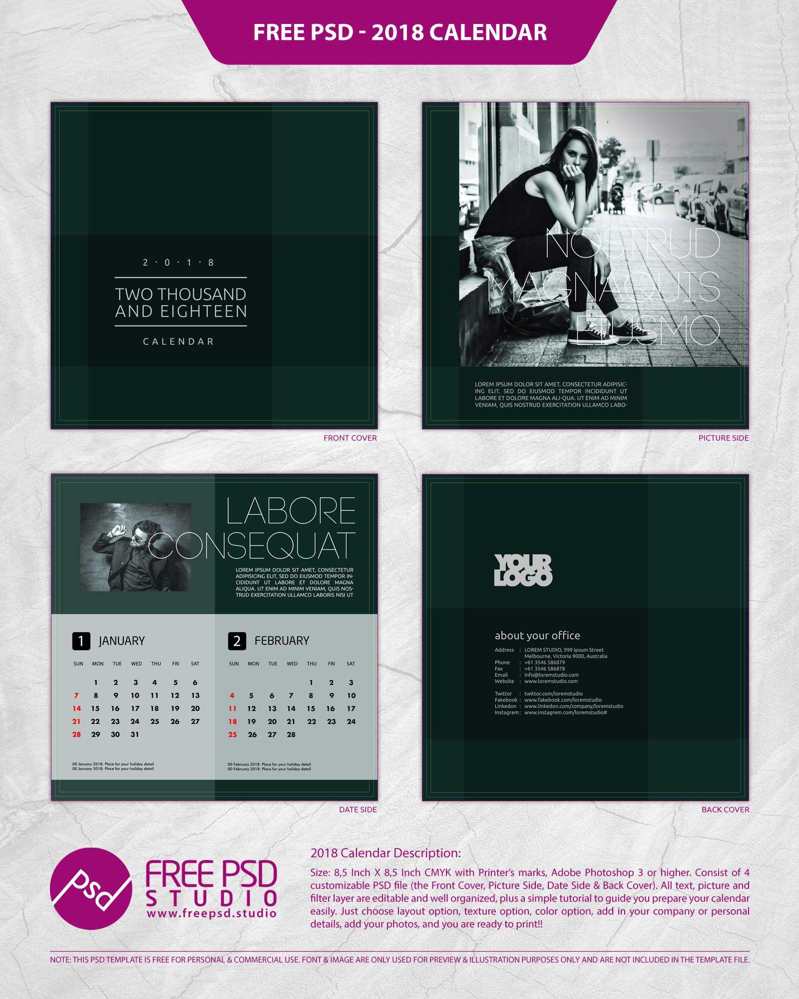Calendar Design Template Psd : Calendar psd template free