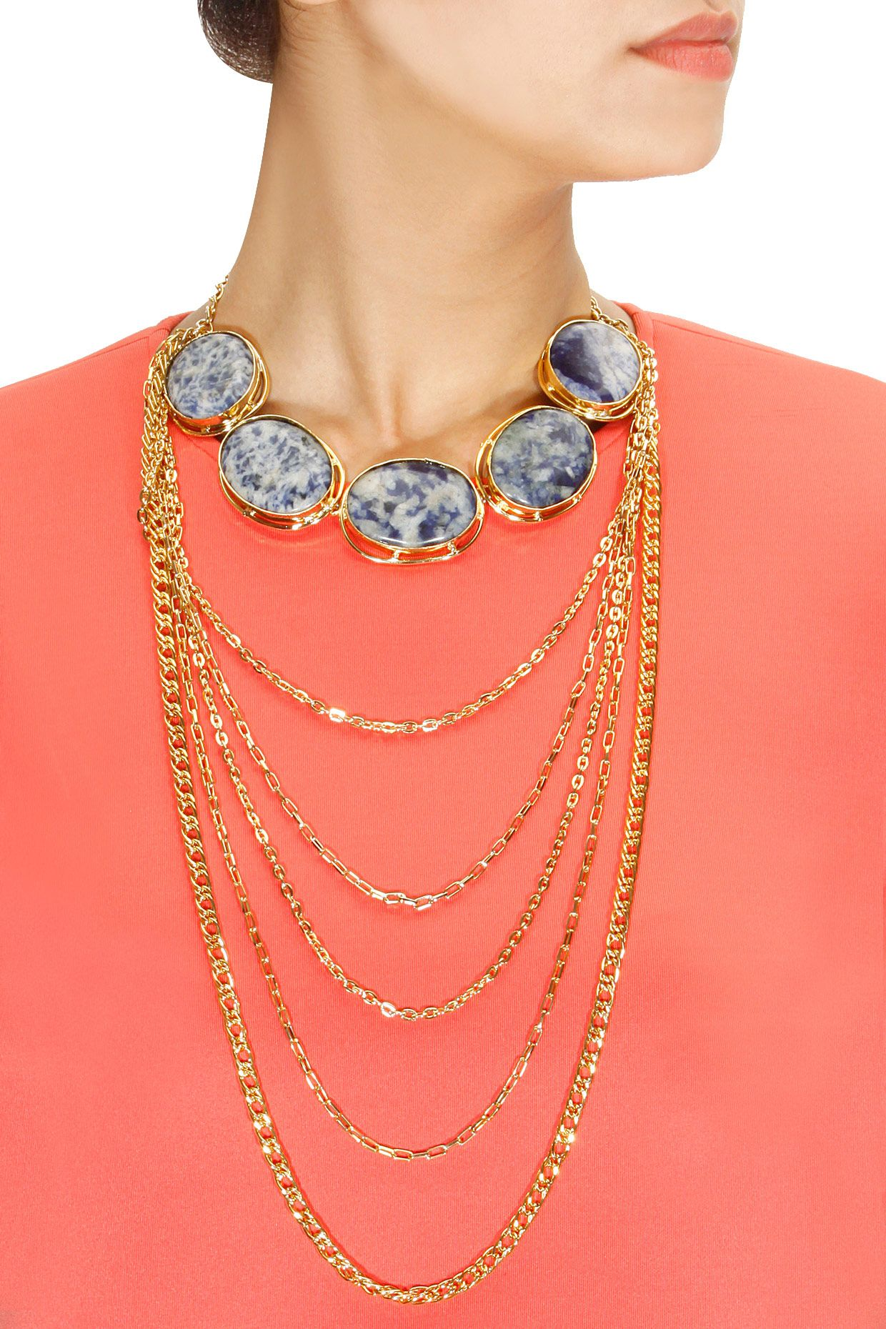 drape blue onyx plated and raya pin necklace chains at by gold shop