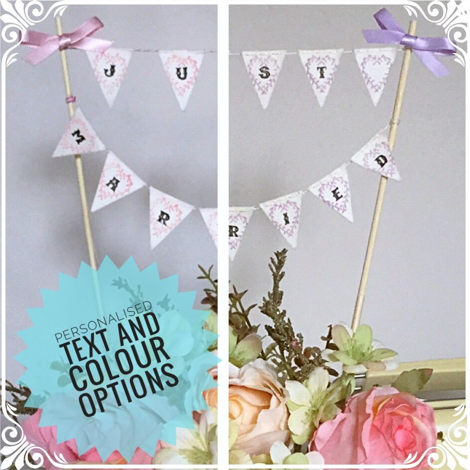 Just Married Or Personalised Cake Topper Wedding Bunting Vintage Shabby