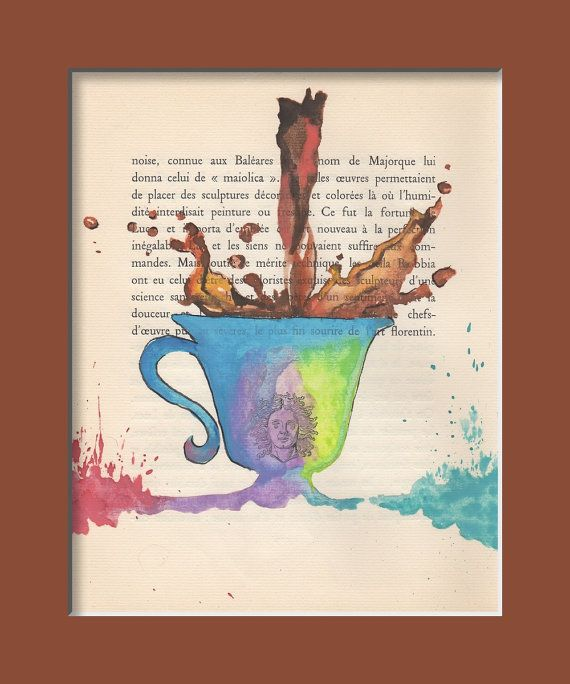 Coffee Original Watercolor Painting On Old Book Page By Milkfoam