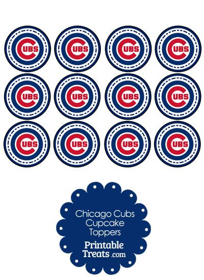 graphic relating to Printable Chicago Cubs Logo known as Printable Cubs Emblem Cupcake Toppers towards