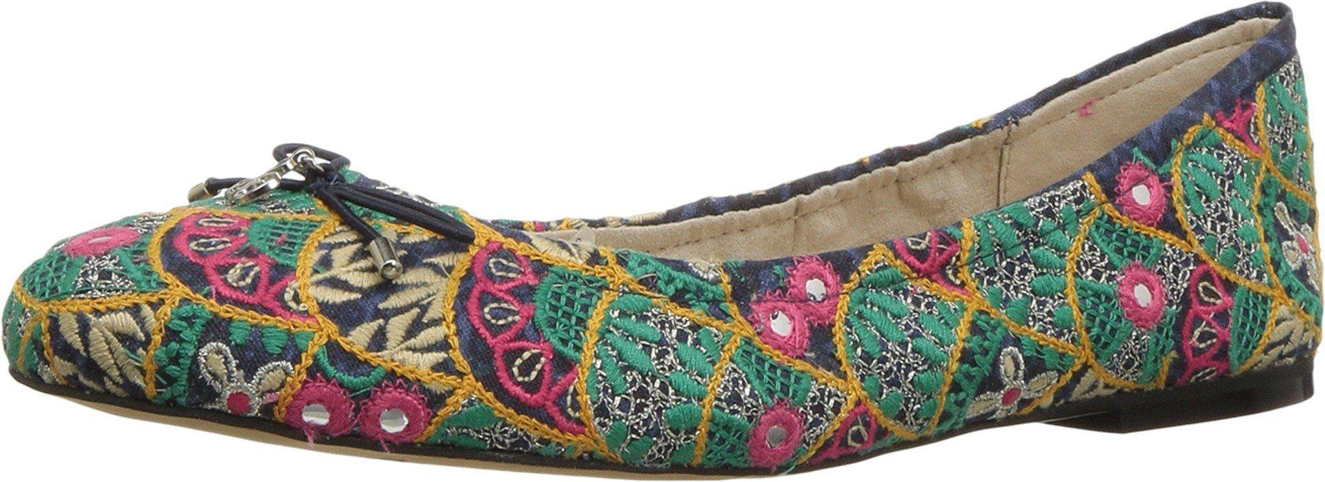 Sam edelman womenus felicia indigo multi ibiza embroidery fabric