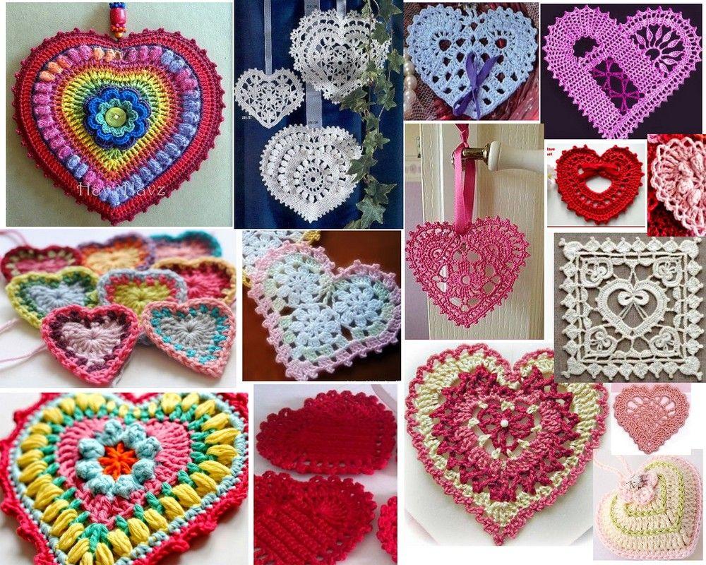 40 corazones en crochet - Diagramas | Crochet | Pinterest | Bricolaje