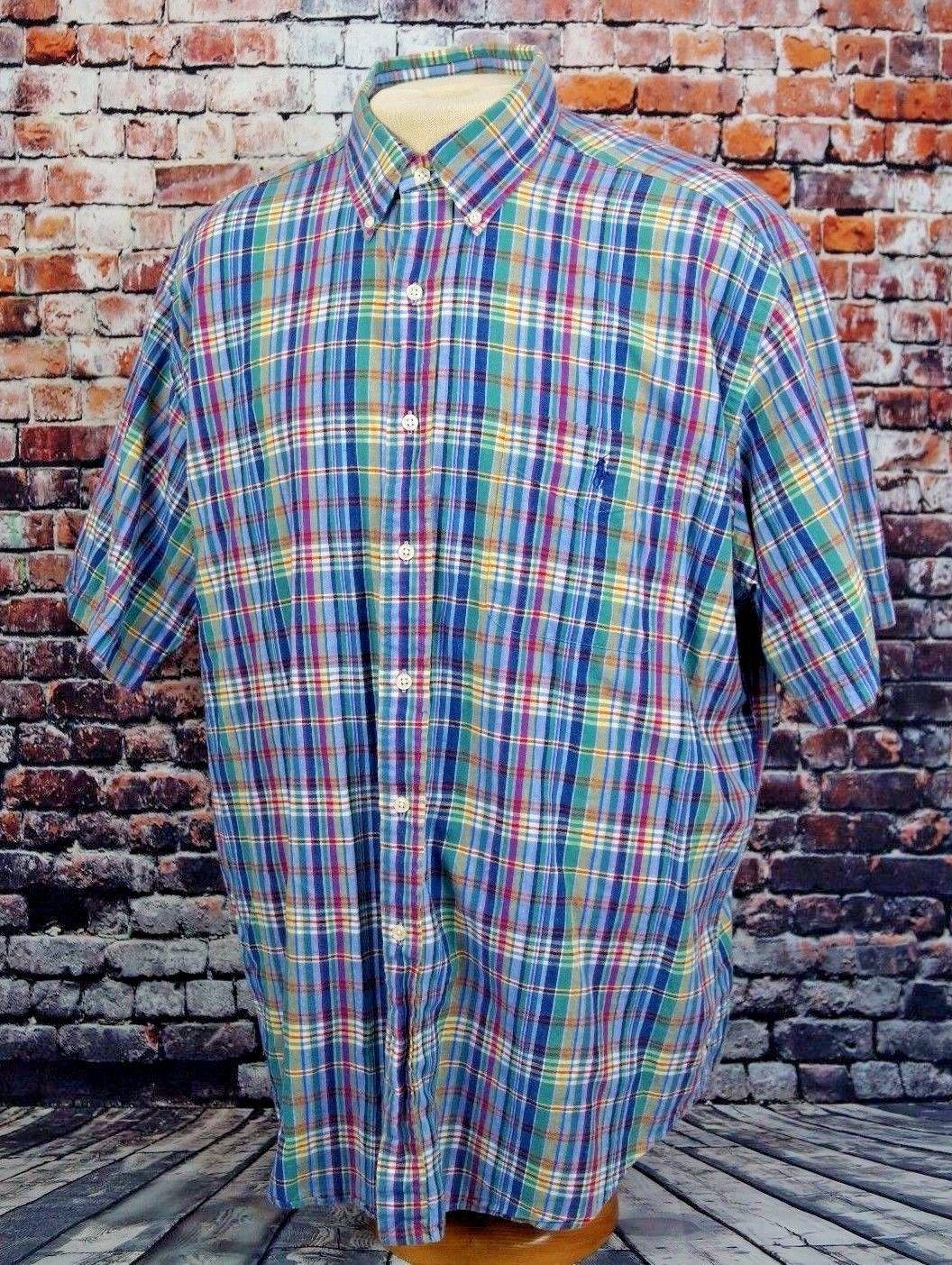 Polo Ralph Lauren Men's Blake Casual Shirt Madras Plaid Short Sleeve Sz. XL