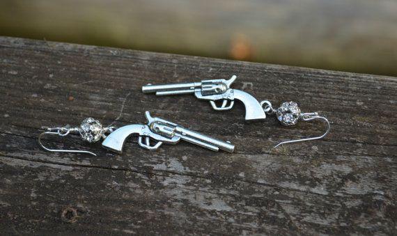 Silver Pistol Earrings with Rhinestone by practicallyfrivolous, $25.00