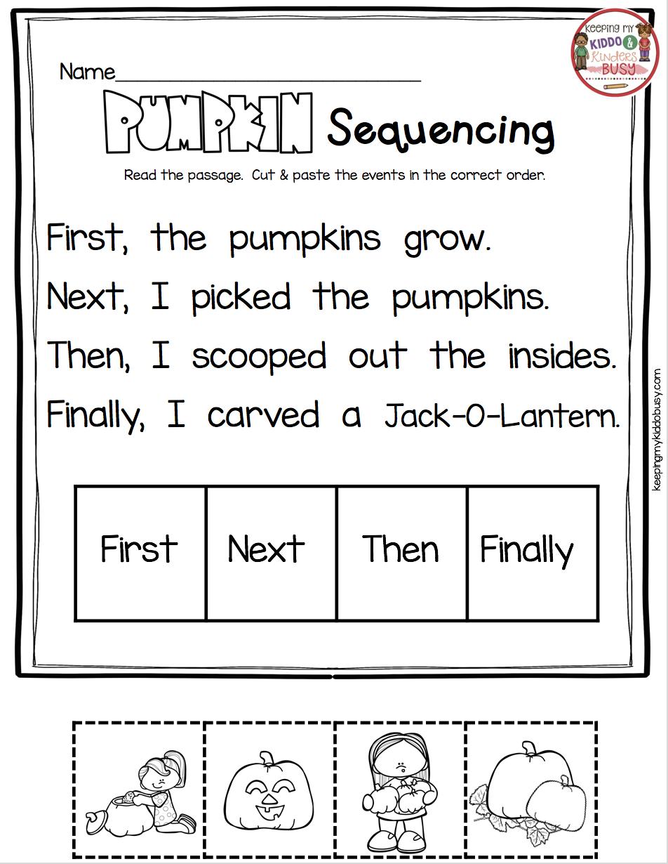 October Math And Literacy Pack Freebies Keeping My Kiddo Busy Kindergarten Reading Kindergarten Worksheets Sequencing Worksheets