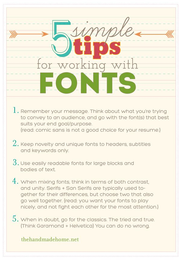5 Simple Tips for working with Fonts (plus 25 free fonts)