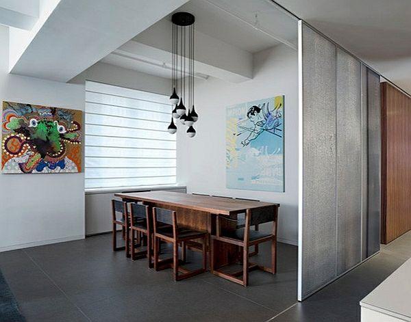 Wie Sieht Das Moderne Esszimmer Aus?   Esszimmer Trennwand Holz Möbel  Hängeleuchten Wanddeko Kunst