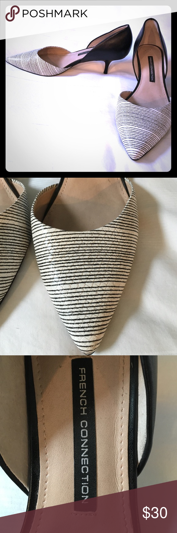 French Connection kitten heels French Connection kitten heel D'Orsay style pump. Black and white striped tie area and solid black back. Size 9 M US but this says 40 EU (normally a 9 is a 39). Fits like a 9. French Connection Shoes Heels