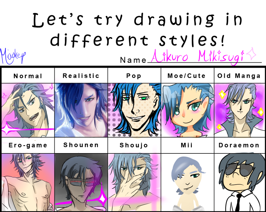 Http Www Deviantart Com Art Aikuro Style Meme 459923106 Different Drawing Styles Anime Drawing Styles Different Art Styles