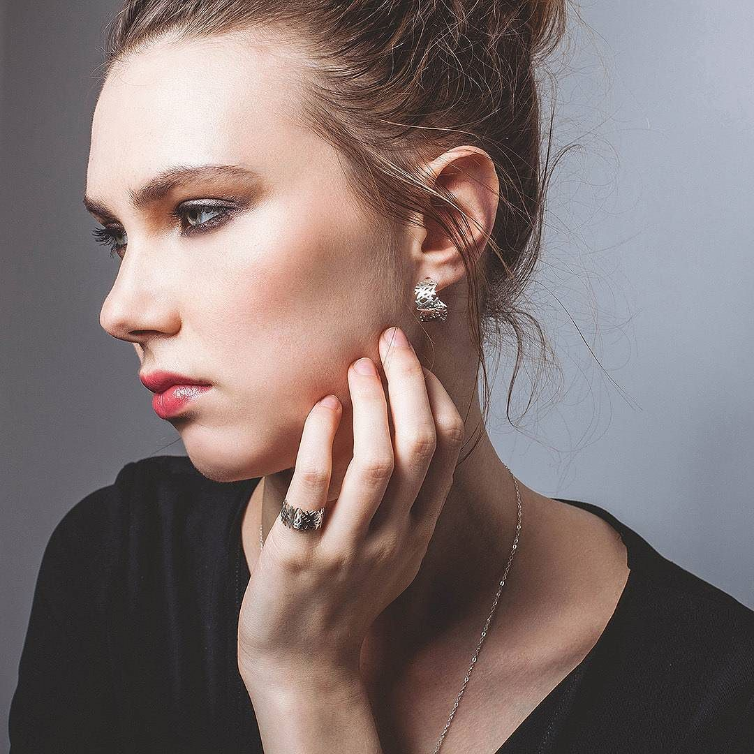 Voronoi earrings and ring set on sale with promocode VOR Free