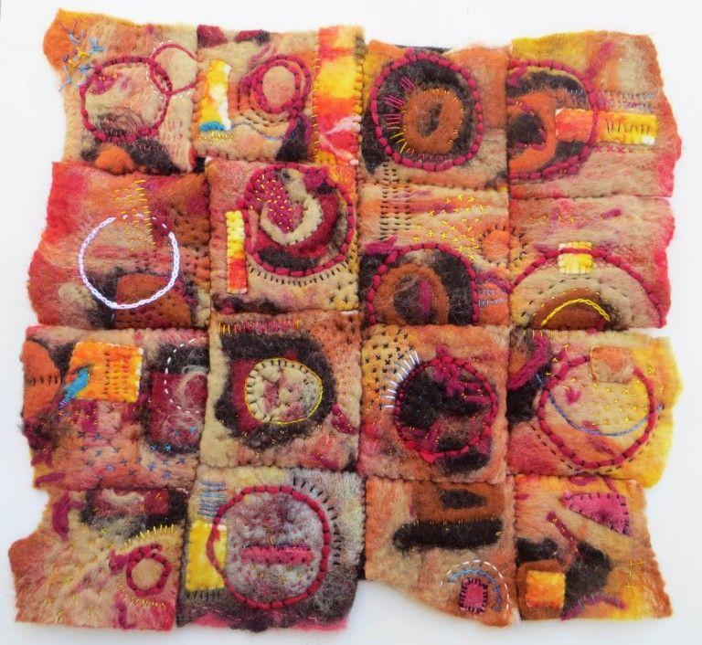 Jane LaFazio - Red Rock Petroglyphs (15 x 14 inches), stitch on felt