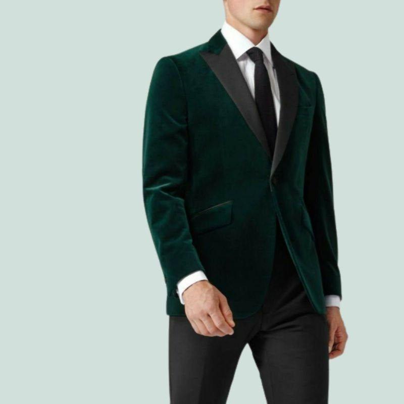 Men/'s Tuxedo Jacket Green Velvet Dinner Coat Slim Fit Prom Jacket Peak Lapel One Button Blazer