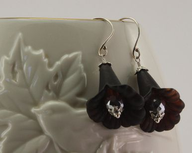 Earrings - Flower (large) Black Vintage Lucite on Sterling Silver Ear-wires