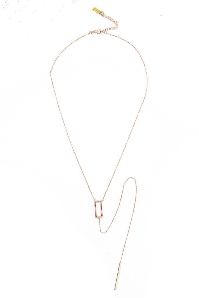 Sharp Edge Lariat Necklace Rose Gold Chains Neckline and Bohemian