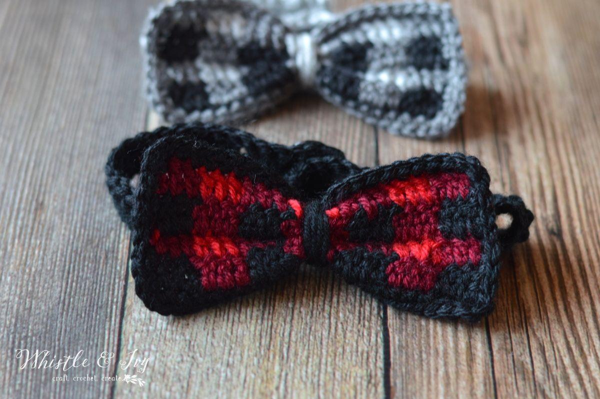 Crochet Plaid Bow Tie