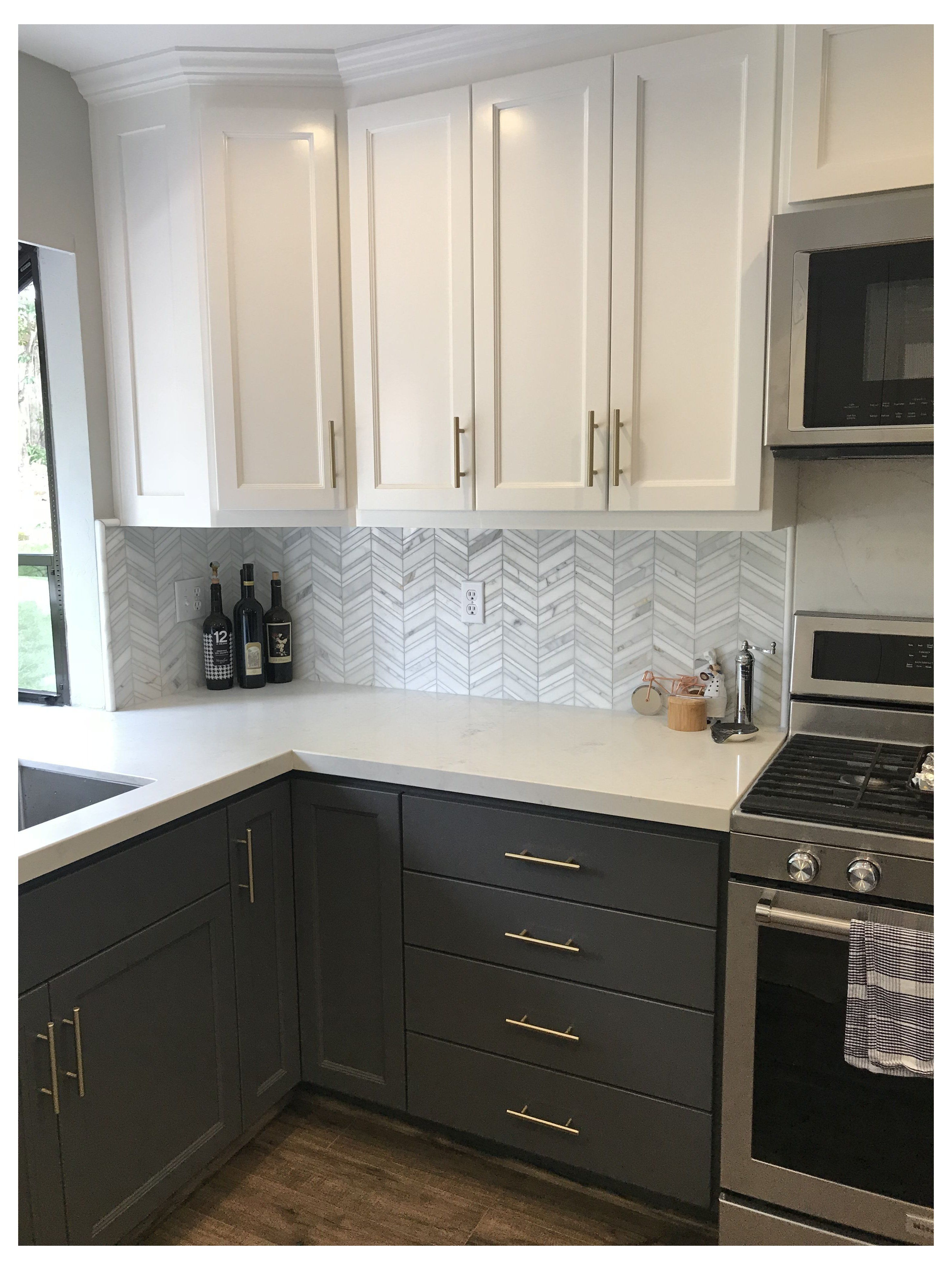I Like The Idea Of Dark Cabinets On Bottom And Light On Top Though I Think I W In 2020 Kitchen Cabinets With Black Appliances Kitchen Design Trendy Kitchen Backsplash