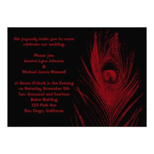 Red and Black Peacock Wedding Personalized Announcements