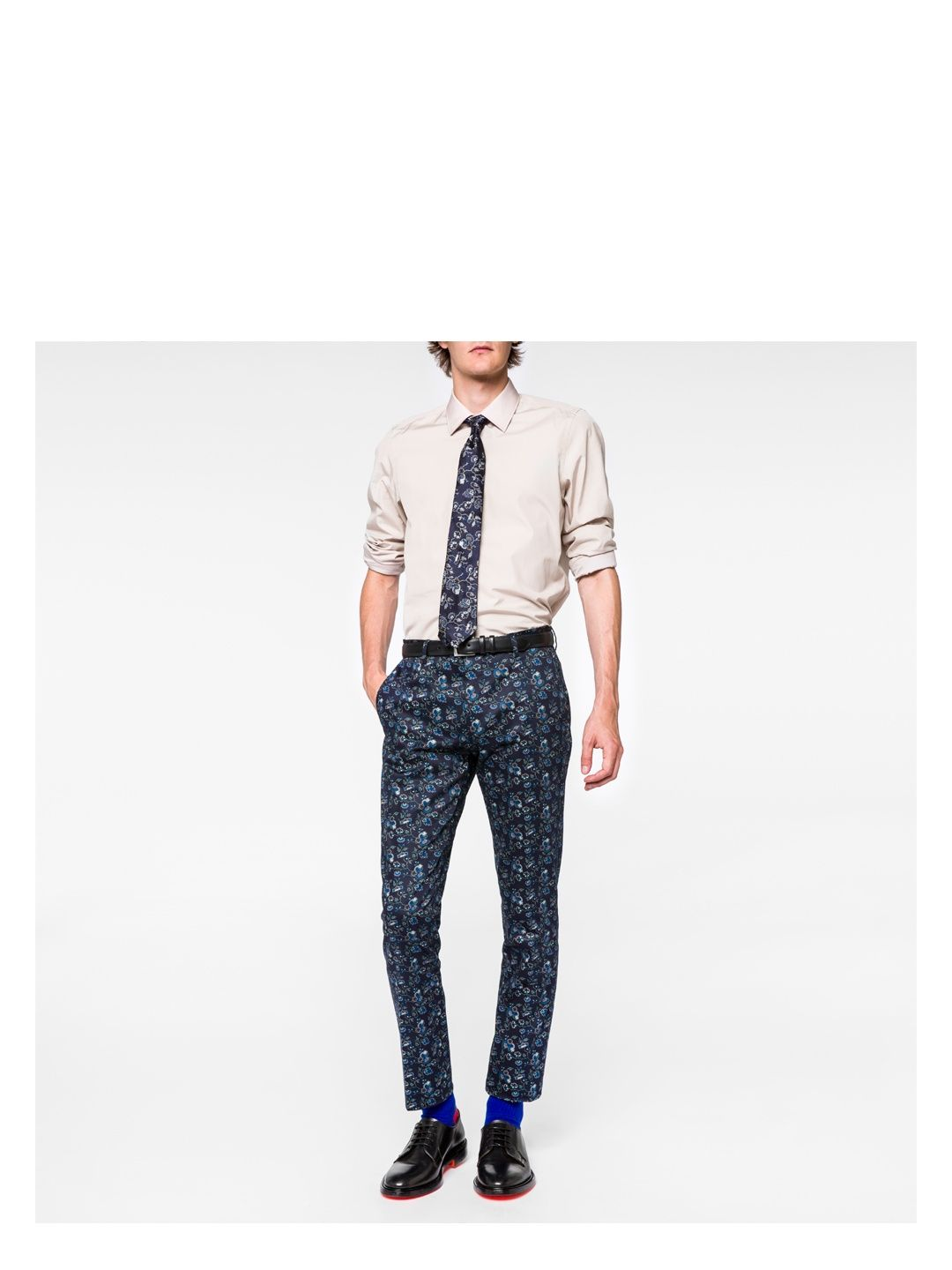 ed13d35a PAUL SMITH Men's Slim-Fit Navy Stretch-Cotton Floral Trousers. #paulsmith  #cloth #