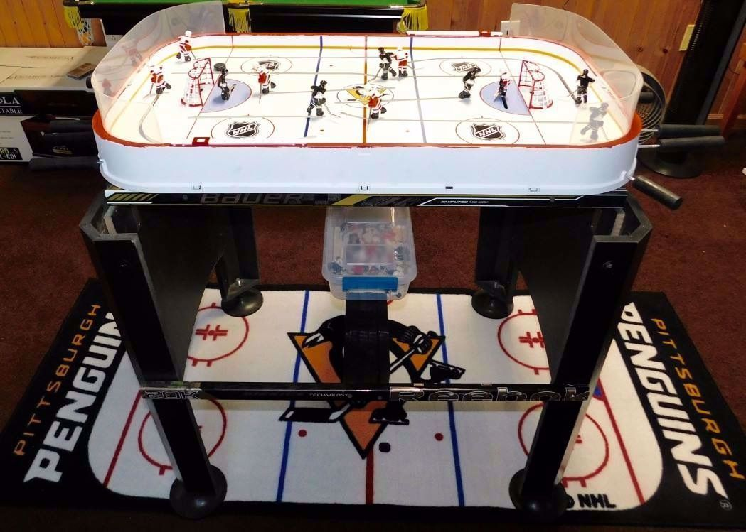 Stiga Hockey Table Restored With Hockey Sticks And Pittsburgh Penguins Theme In 2020 Hockey Stick Hockey Penguin Theme