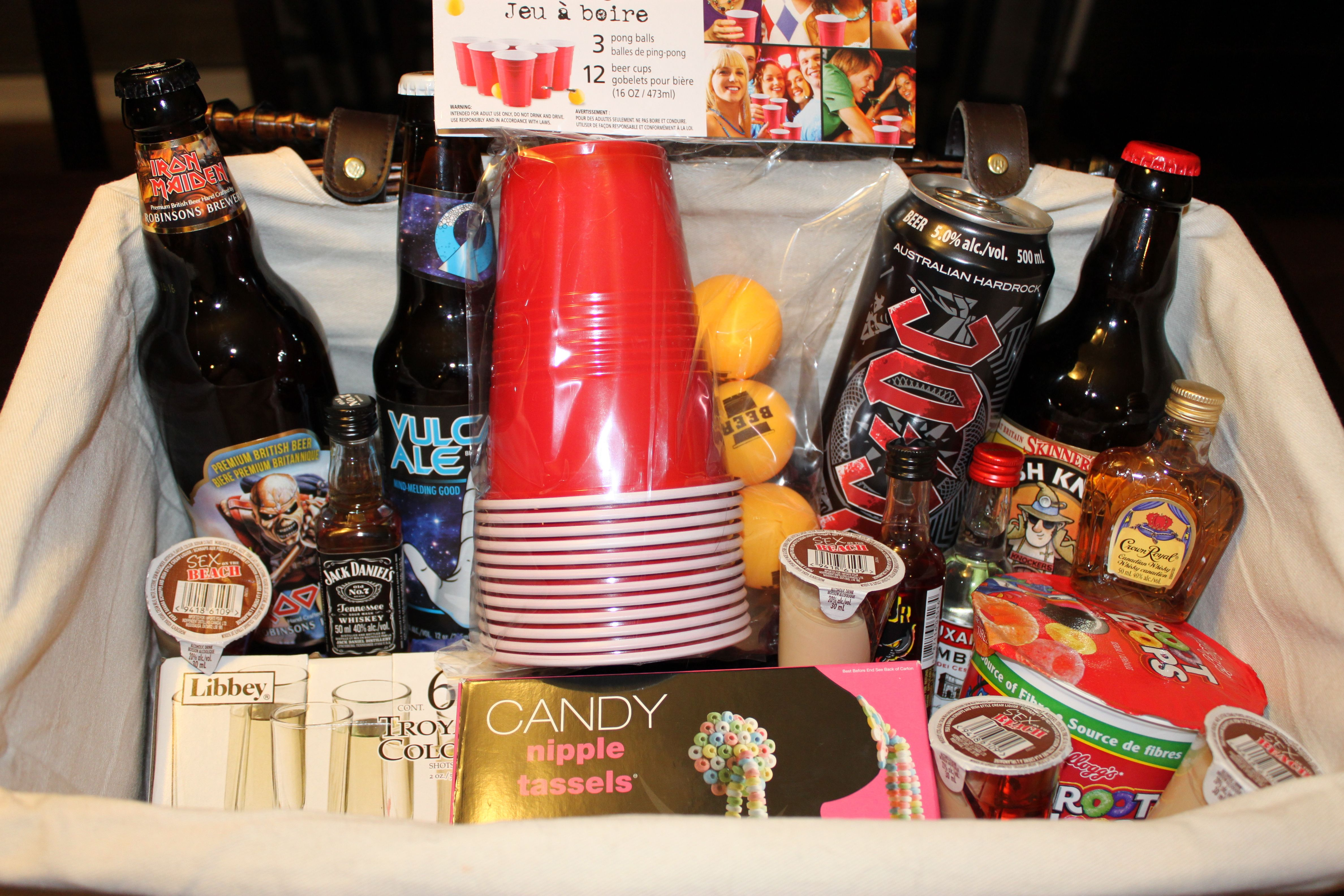 House warming basket for men fun to make and the guys
