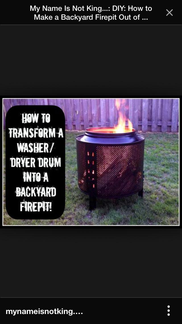 Fire Pit From Dryer Drum Hmmm Fire Pit Backyard Backyard Diy