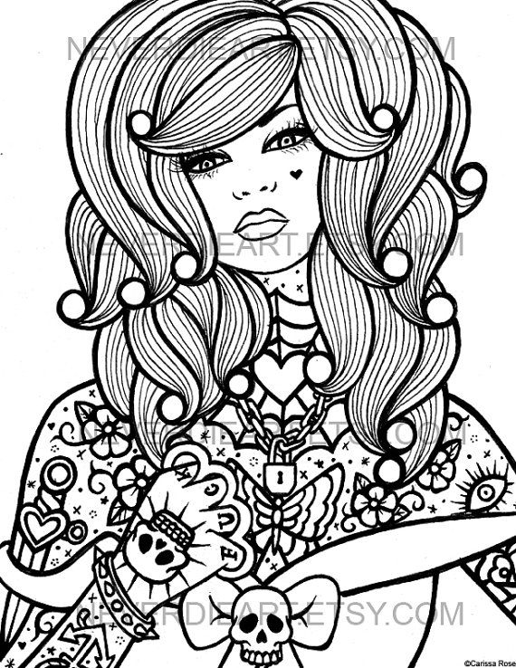 Digital Download Print Your Own Coloring Book Outline Page Hard Candy 4 By Carissa Rose Coloring Pages Dibujos Pintar Ilustraciones