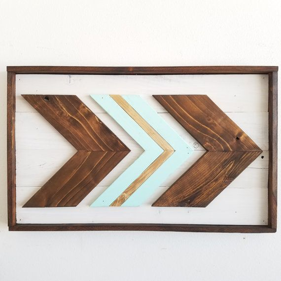 Framed Chevron Arrows X3 Wall Hanging Rustic Art Reclaimed Wood