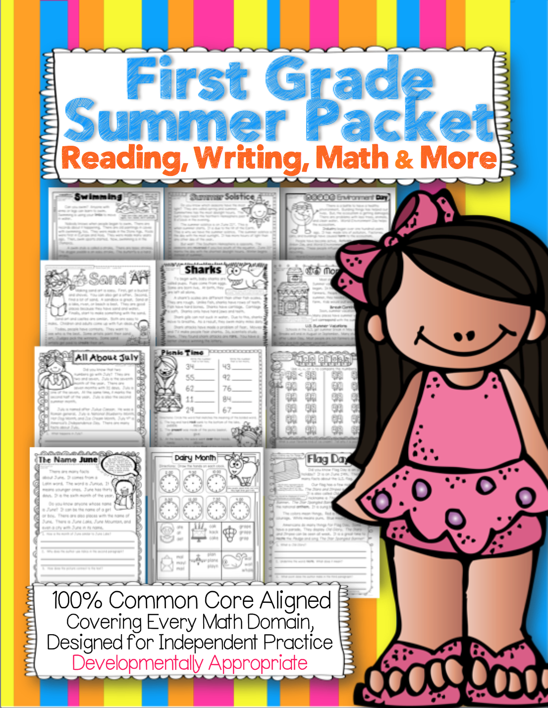 First Grade Common Core Summer Packet Reading Math Writing And More