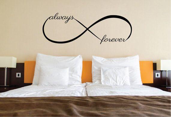 Amour citation Sticker Mural | Lit décor, symbole de l'amour infini | Au dessus de lit Wall Decor Art minimal Sticker Mural chambre à coucher de la maison | Idée déco mignon