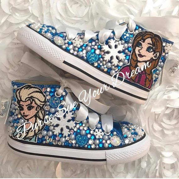 7ebfbe87f30a Disney Frozen Swarovski Crystal Rhinestone Converse Shoes - Frozen Birthday  Party - Anna - Elsa - Fr