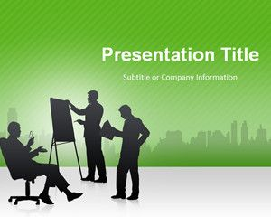 business meeting powerpoint template with green background