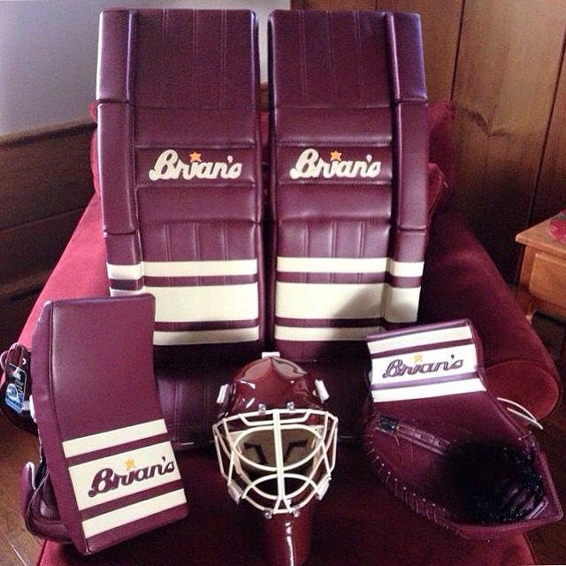 Here S A Custom Maroon Cream Set Of Brians G Netik Pro Ll S Goalie Gear Hockey Goalie Equipment Hockey Goalie